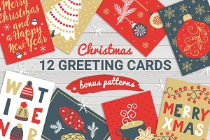 12 Christmas Cards + Bonus Patterns