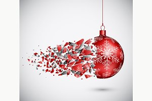 Broken Red Christmas Ball