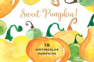 Watercolor Pumpkins Clipart