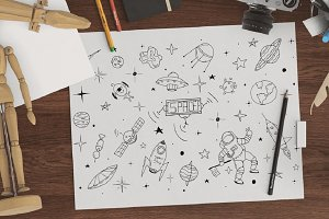 Space set in doodle style + patterns