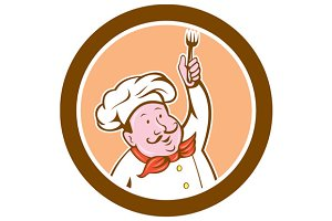 Chef Cook Holding Fork Cartoon