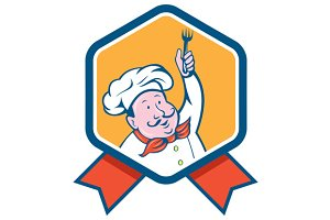 Chef Cook Holding Fork Ribbon Ca