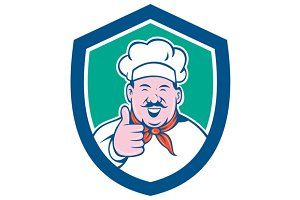 Chef Cook Happy Thumbs Up Shield