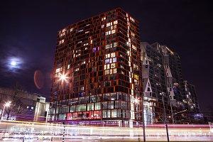 Night Rotterdam and moving tram.