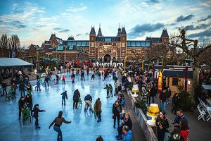 Ice skating rink. Amsterdam winter.