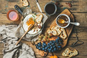 Cheese, fruit and wine set