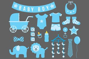 Baby (Boy) Shower Cliparts - Vector