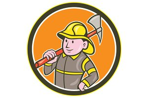 Fireman Firefighter Axe Circle Carto