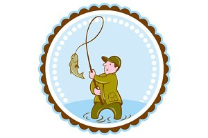 Fly Fisherman Fish On Reel Rosette C