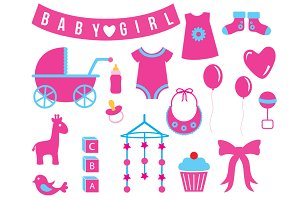Baby (Girl) Shower Cliparts - Vector
