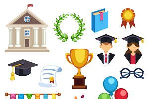 Education school graduation icons