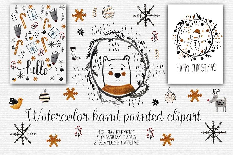 Christmas Clipart Images.Watercolor Christmas Clipart Illustrations Creative Market