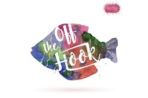 Watercolor card, fish and lettering