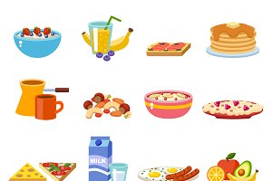 Healthy nutrition vector set