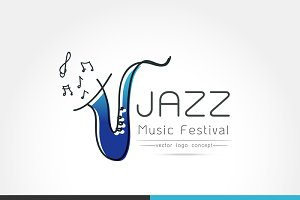 Jazz music festival logo Template