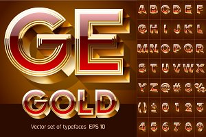 Illustration of chic golden 3D font
