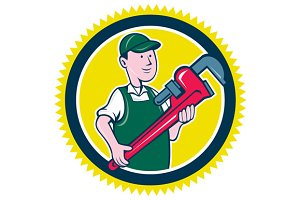 Plumber Monkey Wrench Rosette Cartoo