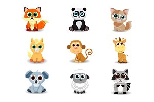 Collection of cute animals.