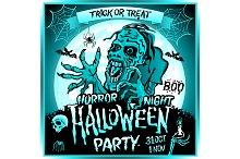 Zombie full moon halloween party art