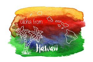 Watercolor Hawaiian graphic design