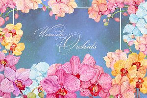 watercolor clipart/orchids /wreaths