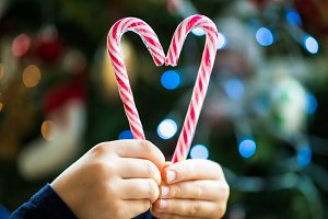 Candy Canes in the Heart Shape