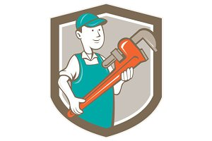Plumber Monkey Wrench Shield Cartoon