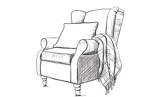 Armchair with warm blanket