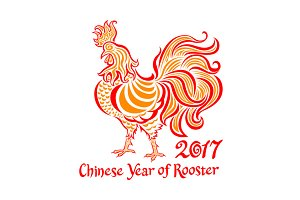2017 chinese Year of rooster vector