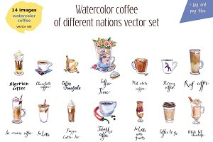 Watercolor coffee-3 vector set