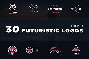 Futuristic logo bundle