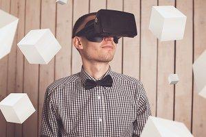 Man in virtual reality helmet