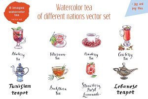 Watercolor tea-4 vector set
