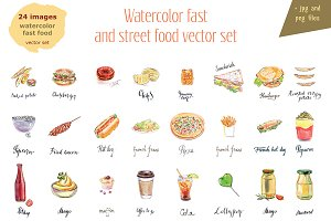 Watercolor fast & street food