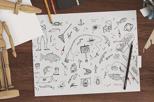 Fishing doodle set+seamless patterns