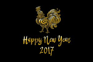Golden rooster Happy new year 2017
