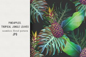 Pineapples,tropical jungle leaves
