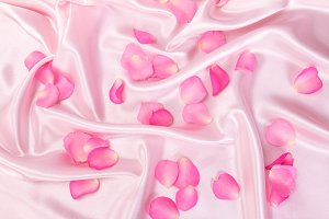 Roses  petal on  soft pink silk