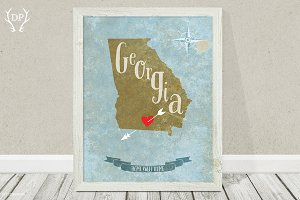 Georgia state art printable