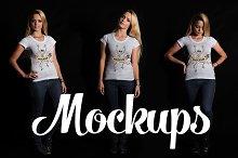 5 Female T-shirt Mockups