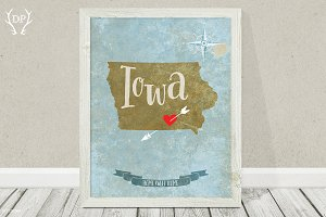 Iowa state vintage map art printable