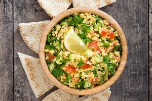 Tabbouleh salad and pita bread