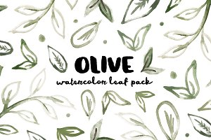 Olive - Watercolor Leaf Pack