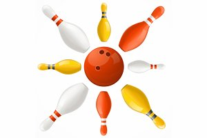 Bowling Ball in Center Pins Set