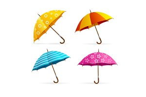 Open Colorful Umbrellas Set