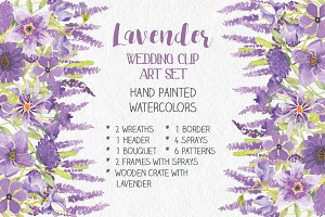 Watercolor clip art bundle: Lavender