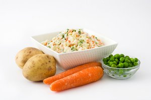 Russian salad and ingredients