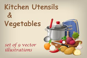 Kitchen utensils and vegetables