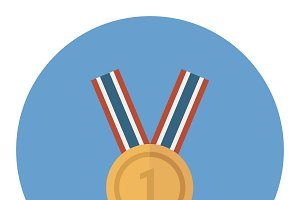 Golden Blank Medal Award with Ribbon