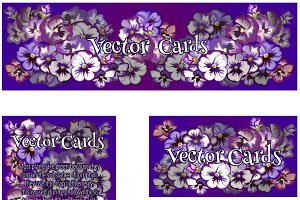 Four cards with purple flowers